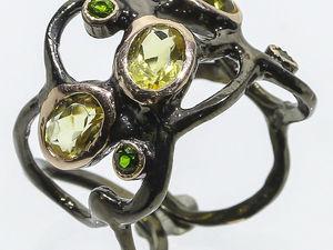 Серебряное кольцо с цитринами, размер 18,25. Ярмарка Мастеров - ручная работа, handmade.