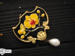 Аукцион с нуля. Orchid.Брошь из полимерной глины.. Ярмарка Мастеров - ручная работа, handmade.