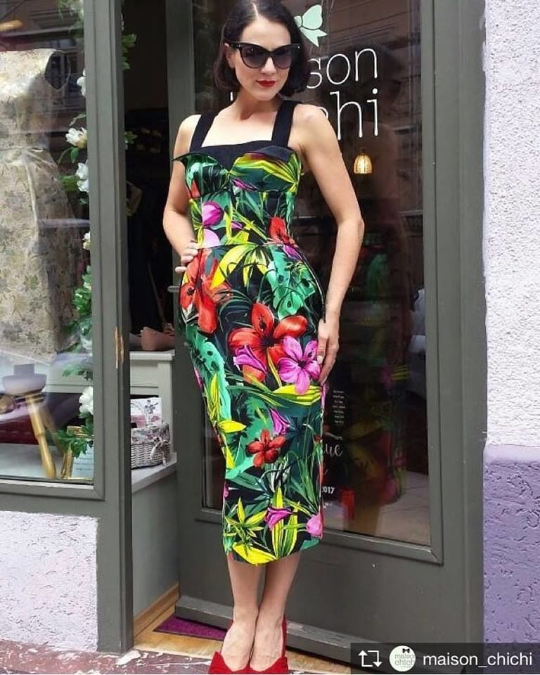 платье с принтом, винтаж, 50-е