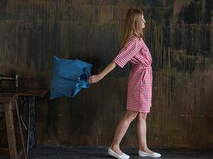 YOKU LOOK: платье с кулиской из клетчатого поплина и сумка-шоппер из синей джинсовой ткани. Ярмарка Мастеров - ручная работа, handmade.