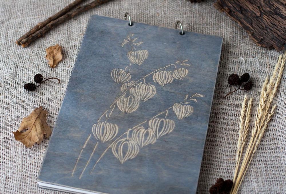 альбом для эскизов, деревяный блокнот, серый, подарок подруге