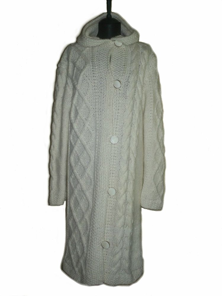 пальто, пальто вязаное, вязаное пальто, пальто с косами, ручная работа