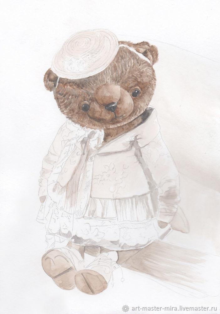 Как нарисовать мишку Тедди акварелью, фото № 5