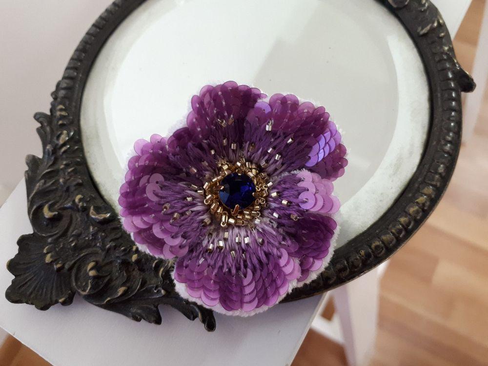 люневильская вышивка, брошь-цветок, аксессуар