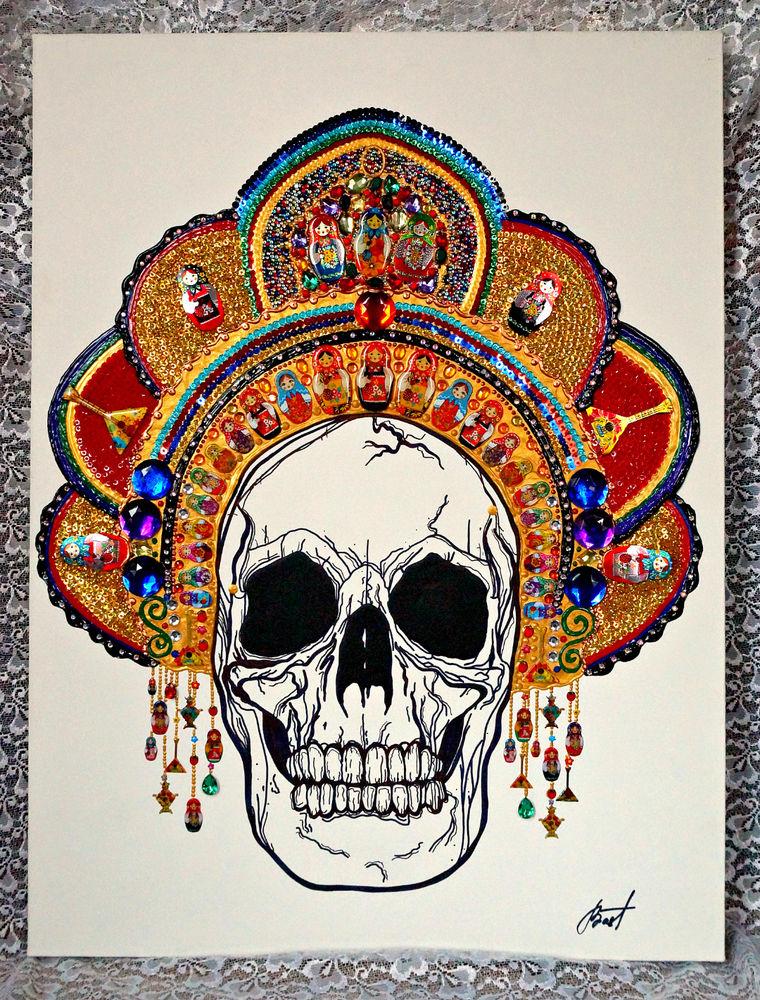 кокошник, русский стиль, русские традиции, сказка, готический стиль, золотой кокошник, сказка о мертвой царевне, скелет в кокошнике, русская матрёшка, темные сказки