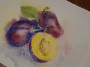 Видео мастер-класс: рисуем сливу акварелью по-сырому. Ярмарка Мастеров - ручная работа, handmade.