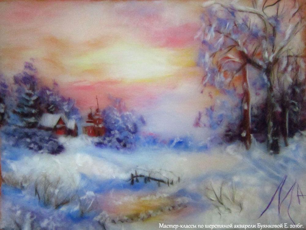 Картины шерстяная акварель зима мастер класс