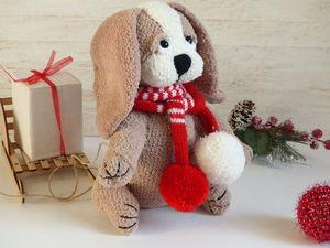 Видео. Собачка в новогоднем шарфе | Ярмарка Мастеров - ручная работа, handmade