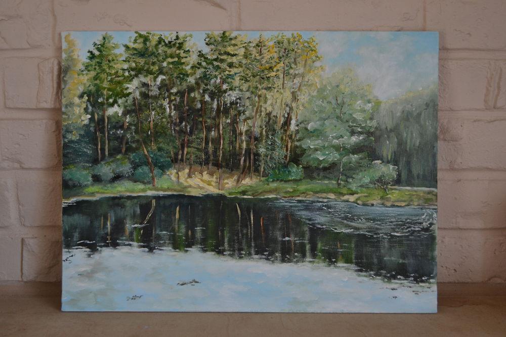 картина, живопись, живопись маслом, лесное озеро, прохлада, лето, сосновый лес, пейзаж, закат, отдых в лесу