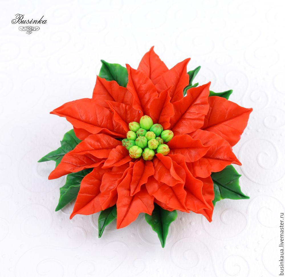 лепка пуансеттии, пуансеттия мастер класс, сборка украшений, рождественские украшения, как сделать подарок, лепка заколки для волос