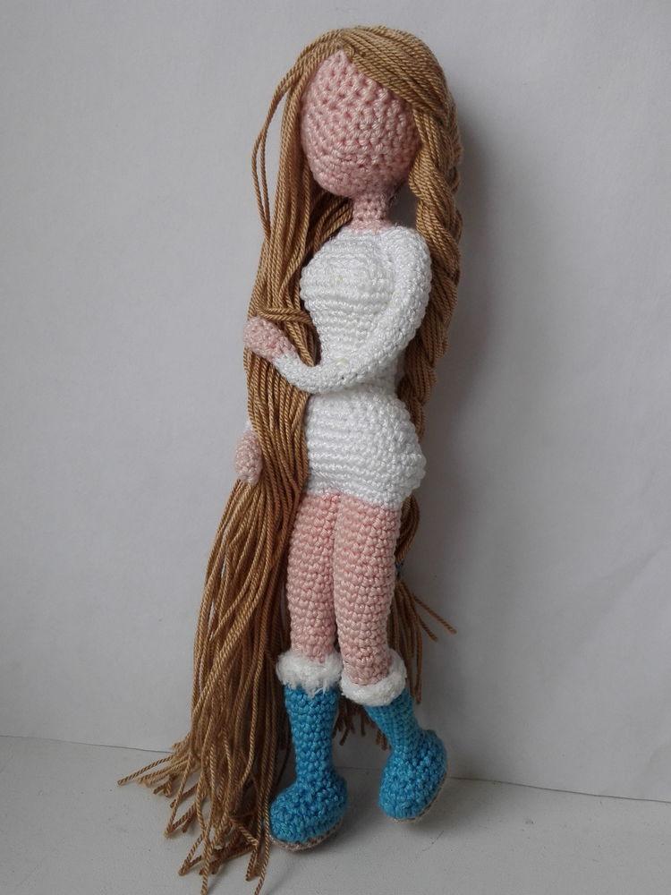 кукла ручной работы, зима, девушка, вязаные игрушки