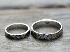 Обручальные кольца Верность с сердцами, серебро 925 пробы. Ярмарка Мастеров - ручная работа, handmade.