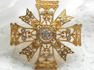 Видео. Брошь-кулон Мальтийский крест с тайной, Kenneth Jay Lane, США. Ярмарка Мастеров - ручная работа, handmade.