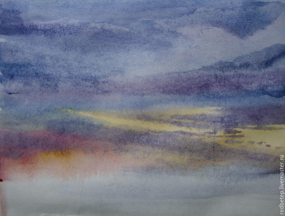 закат, своими руками, пейзаж акварелью