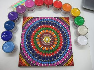 Рисуем мандалу акриловыми красками. Как просто нарисовать мандалу. Ярмарка Мастеров - ручная работа, handmade.