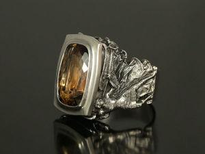Мужской серебряный перстень с топазом. Мужское кольцо из серебоа с топазом. Ярмарка Мастеров - ручная работа, handmade.
