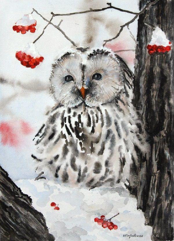 мастер-класс, акварель, акварельная живопись, мастер-класс по живописи, мастер-класс по акварели, уроки рисования, птички, сова, зима, рисование для взрослых, рисование для начинающих, учусь рисовать, научиться рисовать, школа рисования, картина в подарок, подарок, картина акварелью, обучение рисованию, курсы рисования, обучение живописи