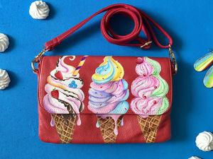Горячая скидка на кожаную сумку с ручной росписью! | Ярмарка Мастеров - ручная работа, handmade