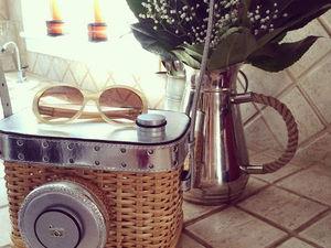 мастер класс - как смастерить сумку-камеру из плетеной корзинки | Ярмарка Мастеров - ручная работа, handmade