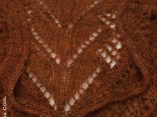 Новая модель Вязаный свитер с бисером Темный янтарь | Ярмарка Мастеров - ручная работа, handmade