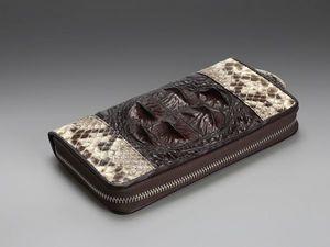 Кошелек на молнии из кожи крокодила и питона (видео обзор). Ярмарка Мастеров - ручная работа, handmade.