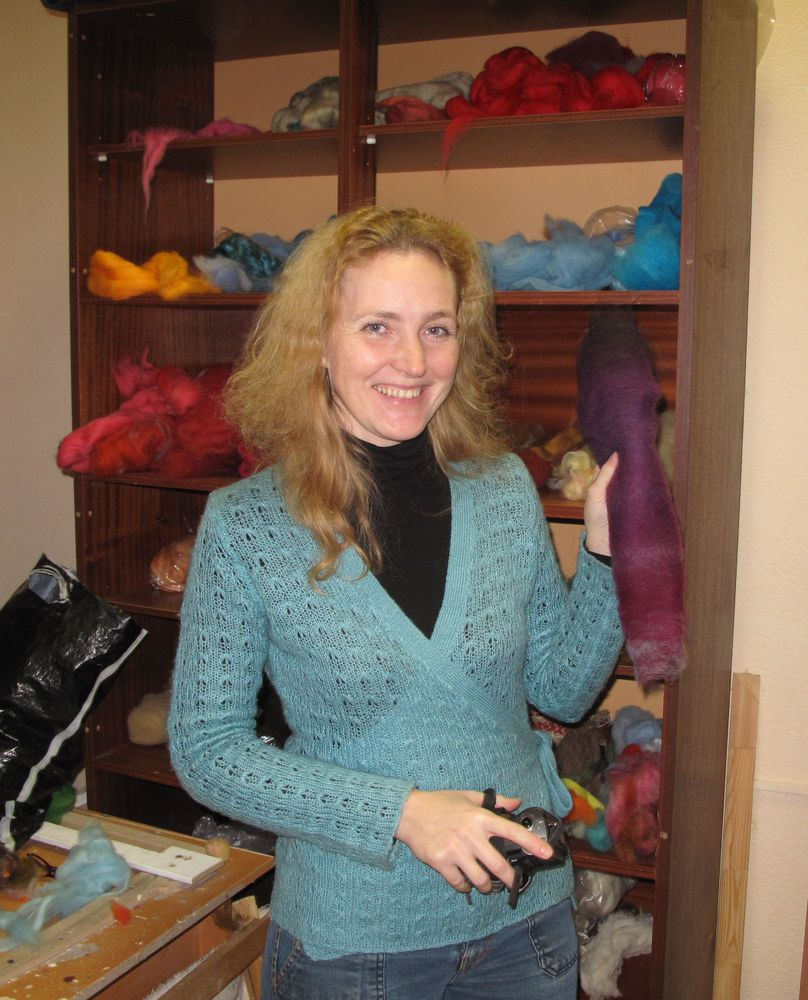 шарф-боа, крашение в технике шибори