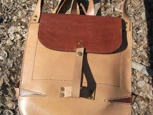 Кожаный городской рюкзачок Песочный. Ярмарка Мастеров - ручная работа, handmade.