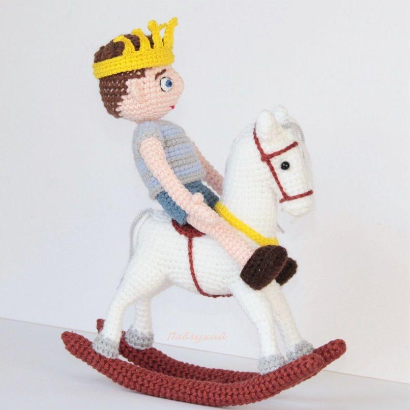 сувенир из пряжи, маленький принц, мини конь