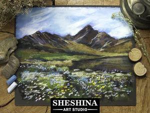 Видеоурок: рисуем горы с цветами у подножия сухой пастелью. Ярмарка Мастеров - ручная работа, handmade.