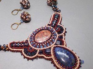 Аукцион на комплект украшений с яшмой, содалитом и хрусталём- сейчас!. Ярмарка Мастеров - ручная работа, handmade.