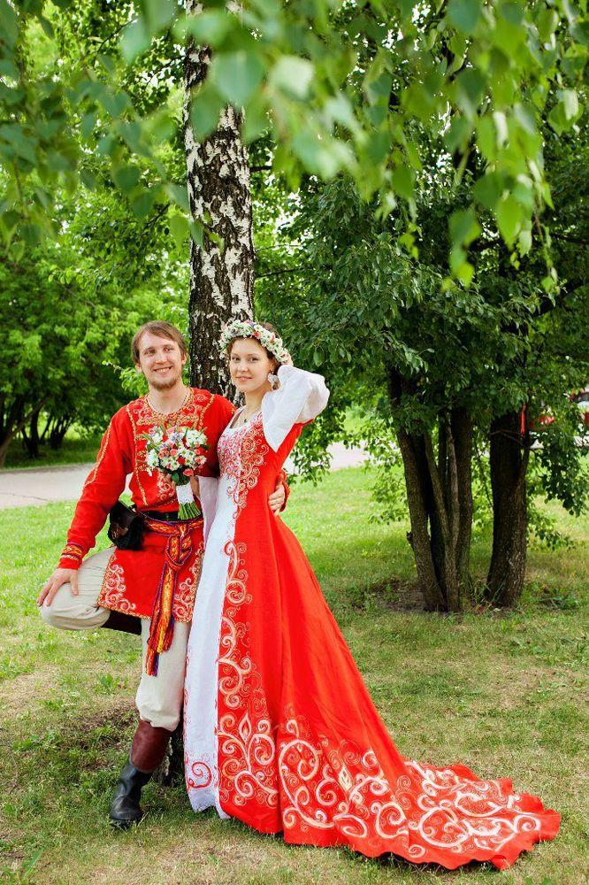 Свадьба в русском народном стиле платья