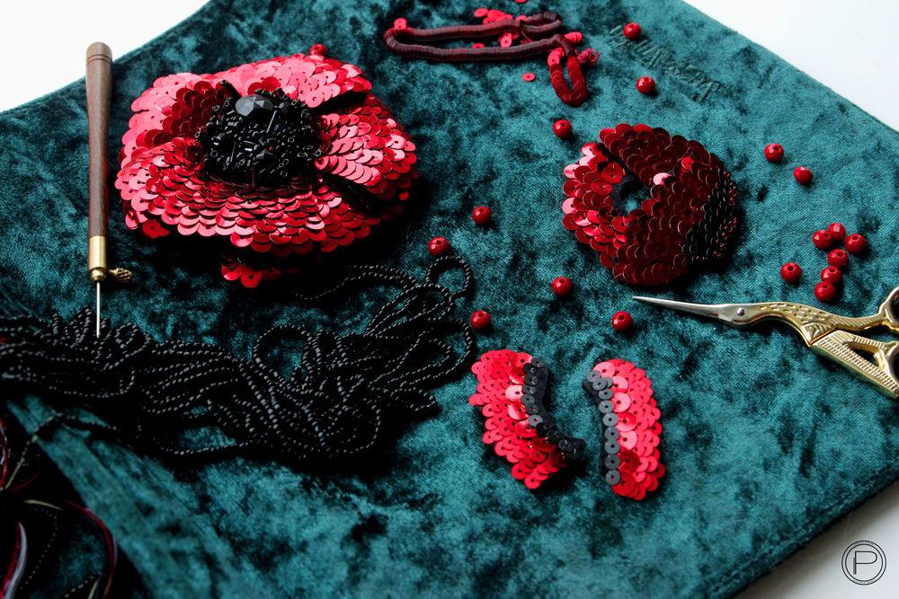 вышивка пайетками, творческий процесс