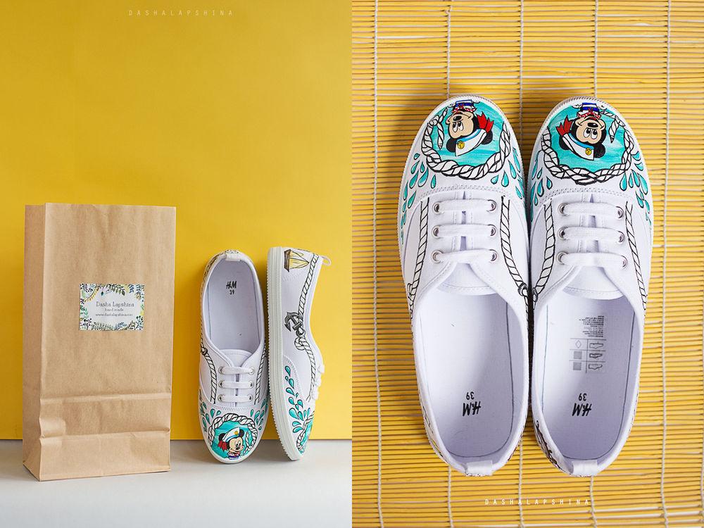 роспись обуви, кеды с микки москва