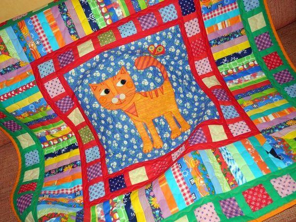 Одеяло детское лоскутное - Мой рыжий Котя. | Ярмарка Мастеров - ручная работа, handmade