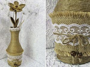 Видеоурок: ваза из бутылки и цветы из джутовой нити. Ярмарка Мастеров - ручная работа, handmade.