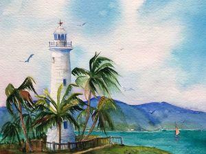 Море маяк акварель. Ярмарка Мастеров - ручная работа, handmade.