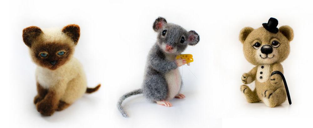 валяние, научиться валять, мастер-класс по валянию, валяние игрушки, игрушка из шерсти, валяная мышка, валяный котенок, мышь игрушка, игрушка котёнок, подвижная игрушка, подвижный мишка, валяный мишка, сухое валяние