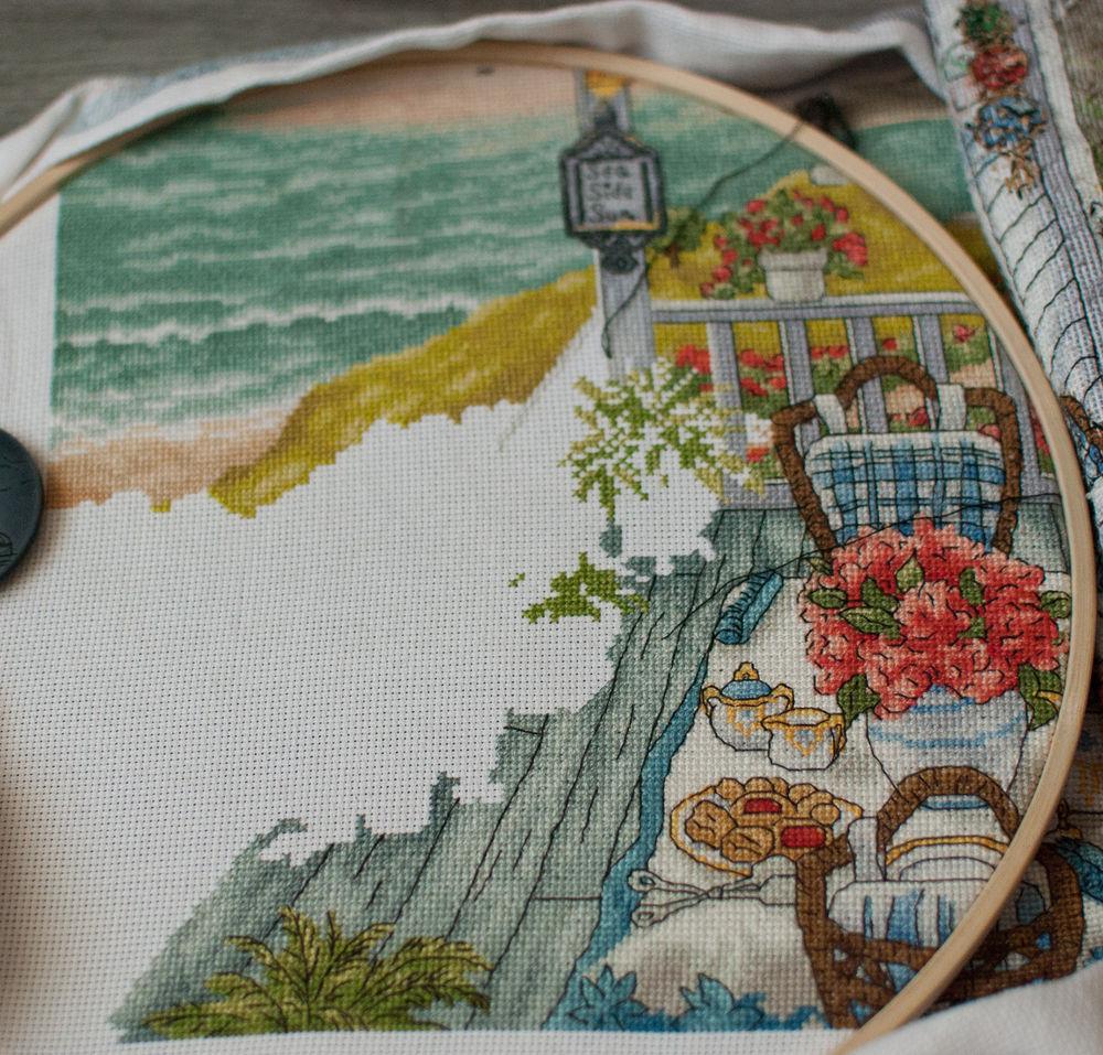 веранда, процесс создания, вышивка крестом
