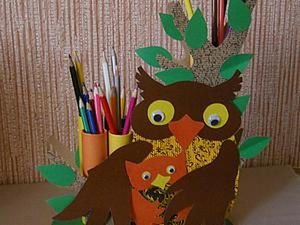 Kid's DIY Project: Making a Pencil Jar Owl with an Owlet. Livemaster - handmade