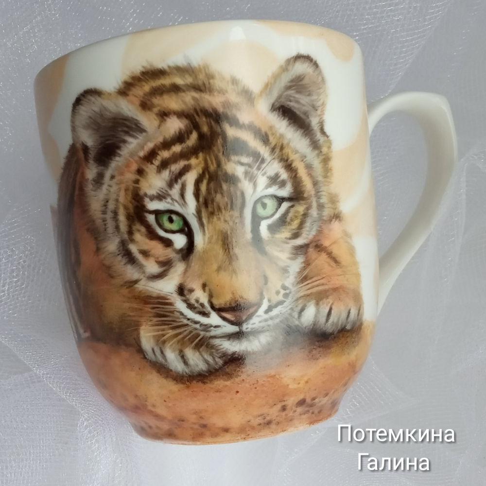 кружка с росписью, тигр, авторская работа