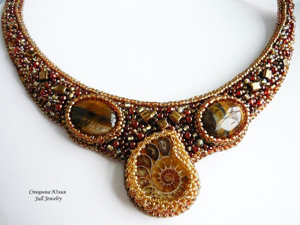 Аукцион на колье с аммонитом и тигровым глазом Gold ammonit! Закрыт! | Ярмарка Мастеров - ручная работа, handmade