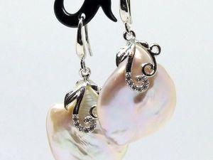 Серьги розовый барочный жемчуг серебро 925 за 2000 рублей!. Ярмарка Мастеров - ручная работа, handmade.