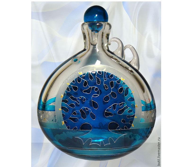 зимнее солнце, бутылки ольги родионовой, зима на бутылке, бутылка для вина, авторская роспись стекла