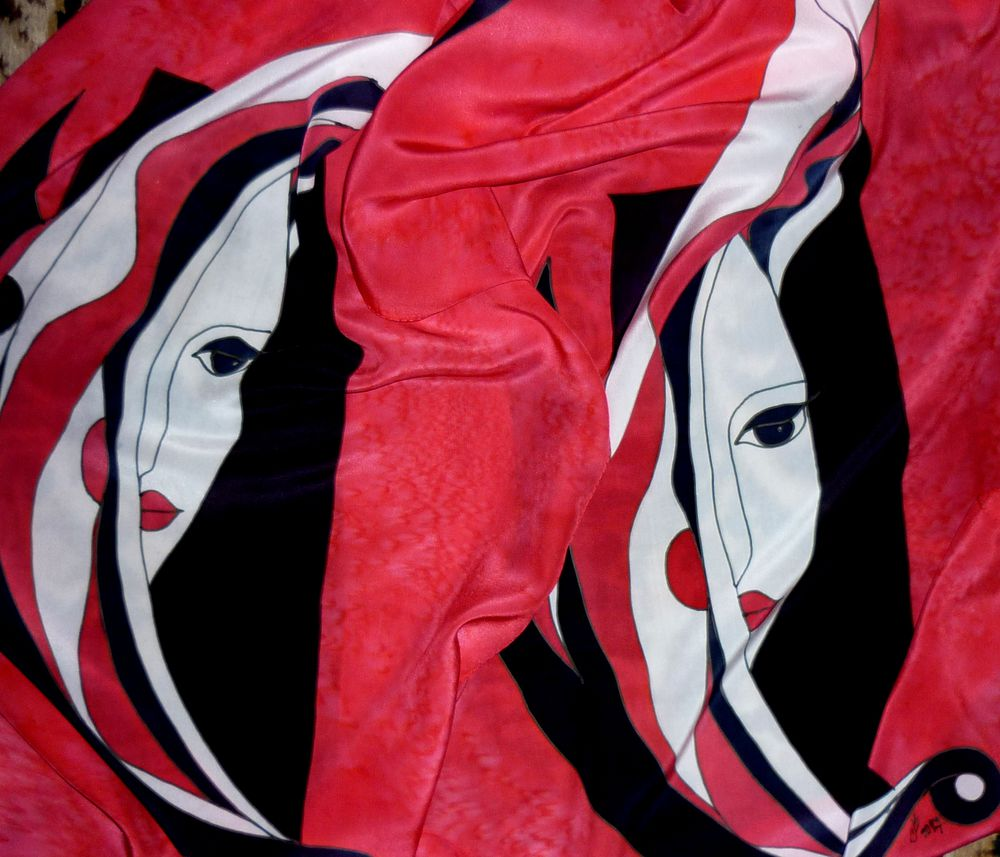 шарфы на шелке, роспись по шёлку