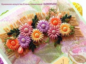 Бесплатный Онлайн-МК «Открытка «Хризантемы-миниатюрные»»   Ярмарка Мастеров - ручная работа, handmade