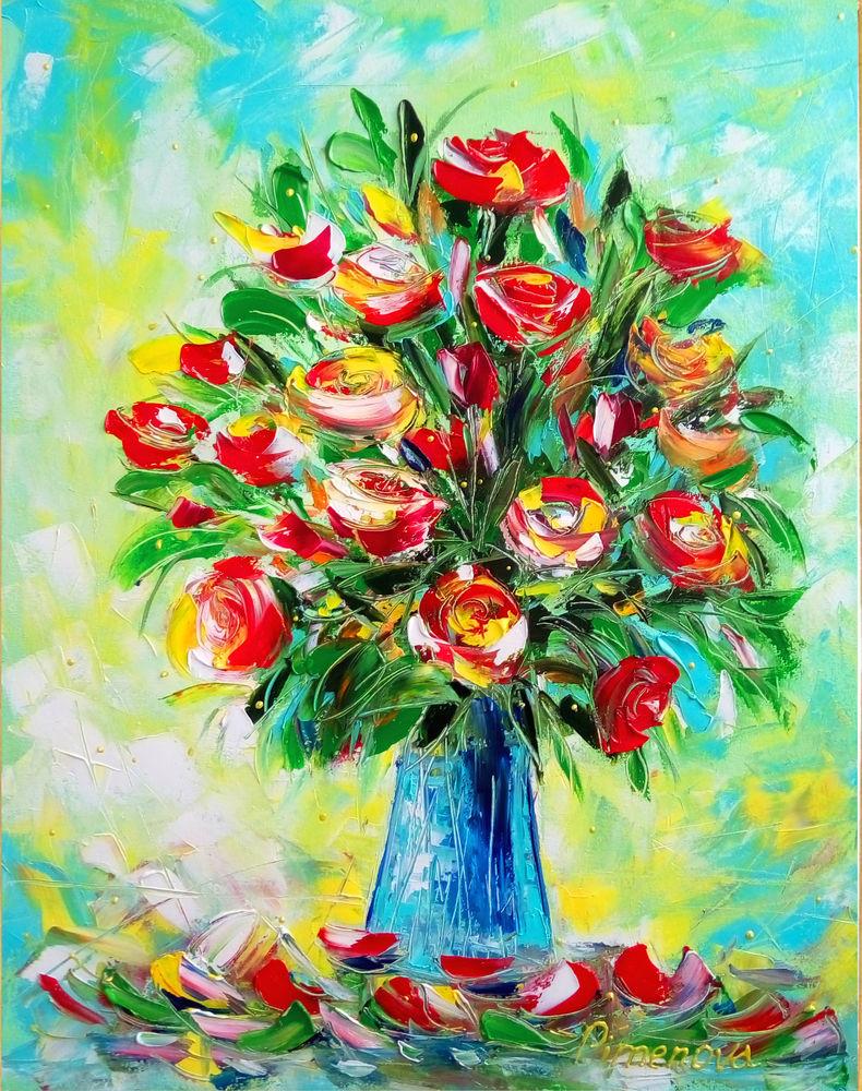 картина с цветами, холст масло, картина для интерьера