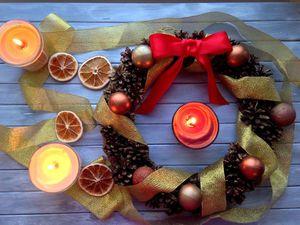 Новогодний венок   Ярмарка Мастеров - ручная работа, handmade