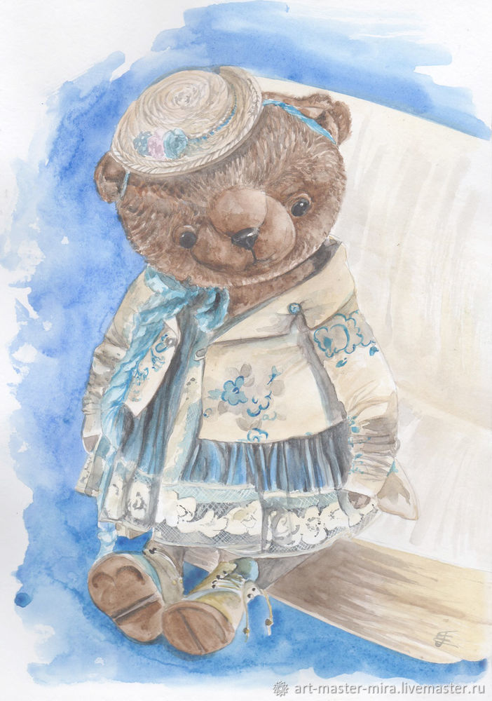 Как нарисовать мишку Тедди акварелью, фото № 11