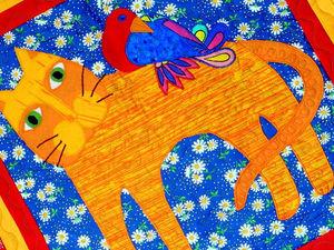 Плед лоскутный - Рыжий кот с синей птицей. Лоскутное шитье в русском стиле. | Ярмарка Мастеров - ручная работа, handmade