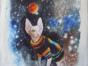 Новая акварель с кошкой из стихотворения. Ярмарка Мастеров - ручная работа, handmade.